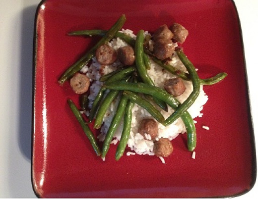 Italian Sausage and Green Beans over Rice