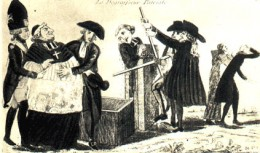 18th century French cartoon depicting the confiscation of church lands and neutering of church power by the Revolution. The fat clergyman comes out skinny the other end.