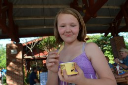 Having ice cream at the zoo