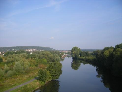 The Saar River between Kleinblittersdorf (Germany) and Grosbliederstroff (France)