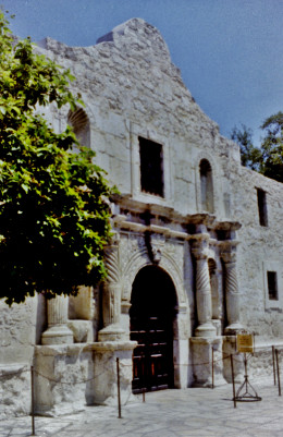 Partial view of The Alamo in San Antonio, Texas