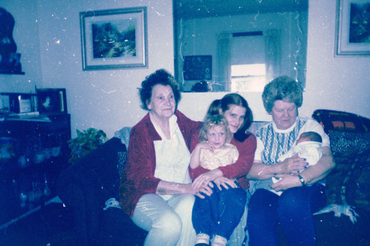 Me with my 2 oldest children, my grandmother, and my great - grandmother.