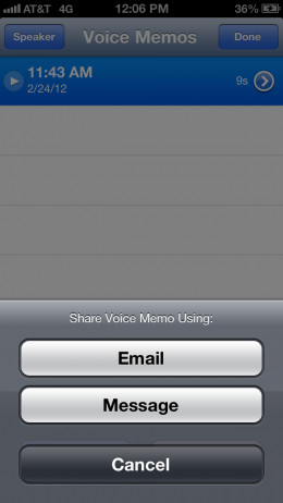 """Tap """"Email."""" A new email message opens with the M4A voice memo file attached to the message."""
