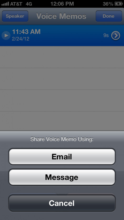 "Tap ""Email."" A new email message opens with the M4A voice memo file attached to the message."