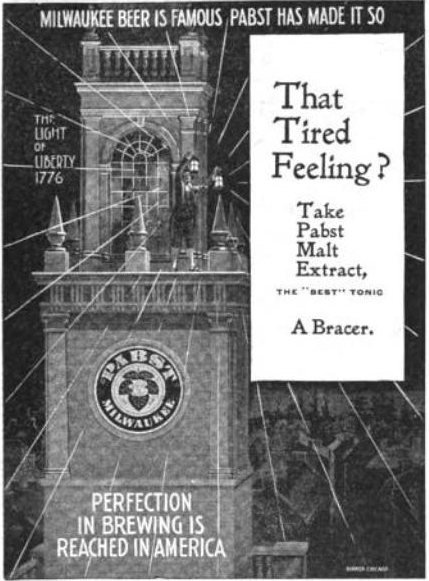 An old advertisement for Pabst Blue Ribbon Beer from 1897.