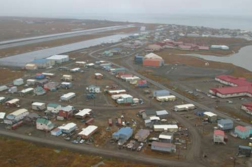 Barrow during a thaw. Climate change is furthering erosion in coastal areas in Alaska.