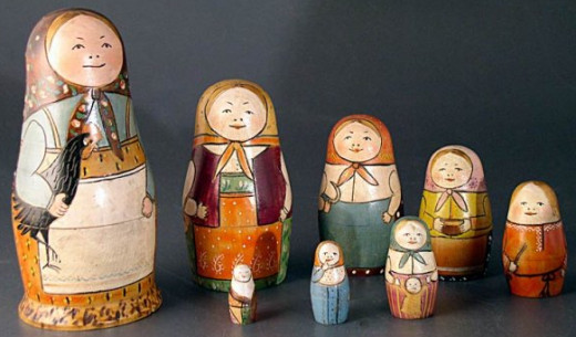 The first Matryoshka doll set are displayed in the Museum of Toys in Russia.