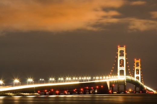 Mackinac Bridge after Dark (From the U.P. side)