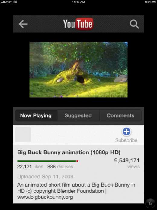 The native YouTube iPhone app in 2X mode on the iPad.