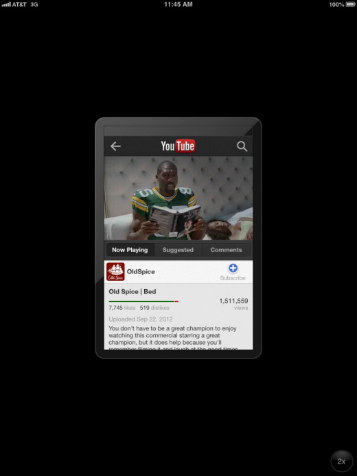 The native YouTube iPhone app as it appears in portrait orientation on the iPad.