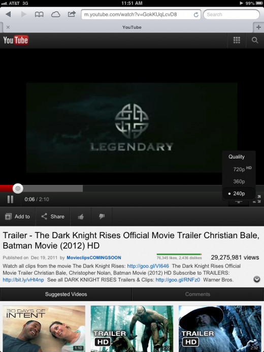 The mobile version of the YouTube website gives you options for viewing your video in either 720p, 360p or 240p.
