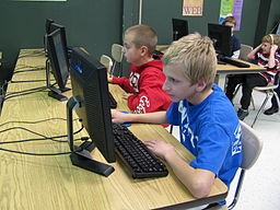 Students learning on technology