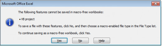 Error displayed in Excel 2007 when creating macros in a non macro enabled workbook.