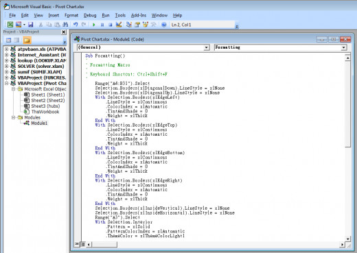 Editing Visual Basic in Excel 2007.
