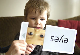 Three-year-old Joey Adams identifies items from flash cards during an in-home therapy session.