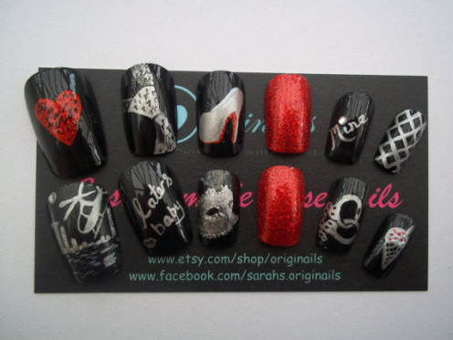 50 Shades of Grey inspired nail art
