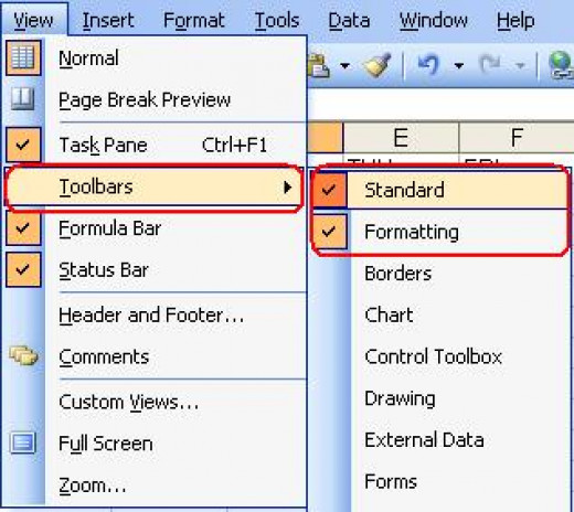 The toolbars option of Excel 2003
