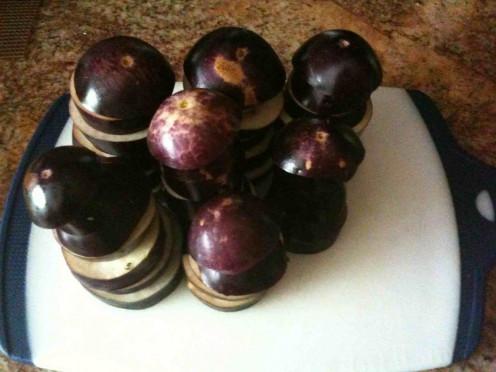 Sliced baby eggplant