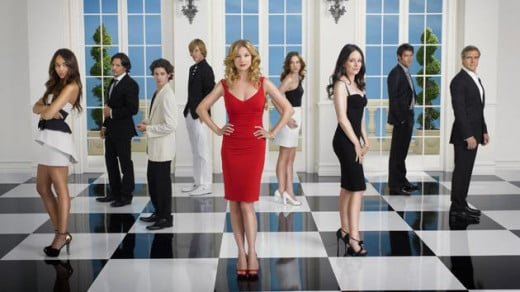 From left to right: Ashley Madekwe, Nick Wechsler, Connor Paolo, Gabriel Mann, Emily Van Camp, Christa B. Allen, Madeleine Stowe, Josh Bowman, and Henry Czerny.  ABC's Revenge, back this fall.
