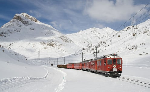 Local train on the Bernina Express line between Lagalb and Ospizio Bernina  in Switzerland