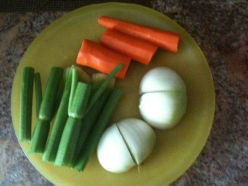Onion, celery stalks, carrot