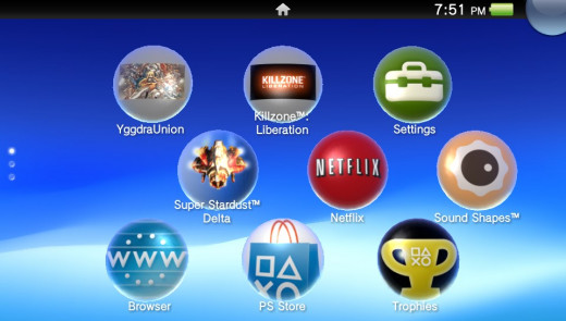 Home screen showing downloaded games and system apps