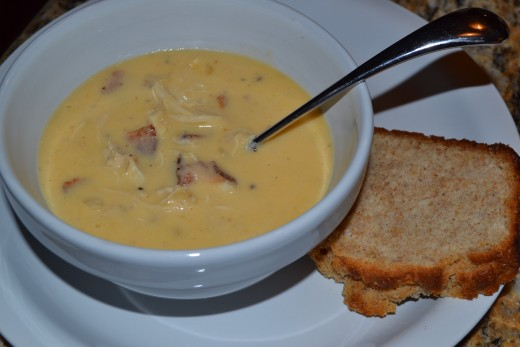 Beer-Cheese soup with chicken and bacon is delicious with homemade beer bread.