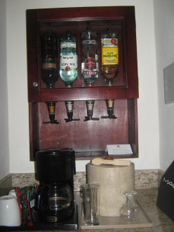 In addition to a coffee maker our suite also featured a set of optics containing brandy, Bacardi, Smirnoff and tequila.  The fridge below the counter contained Mexican beer Dos Equis and sodas such as Pepsi, Pepsi Lite and Seven Up.