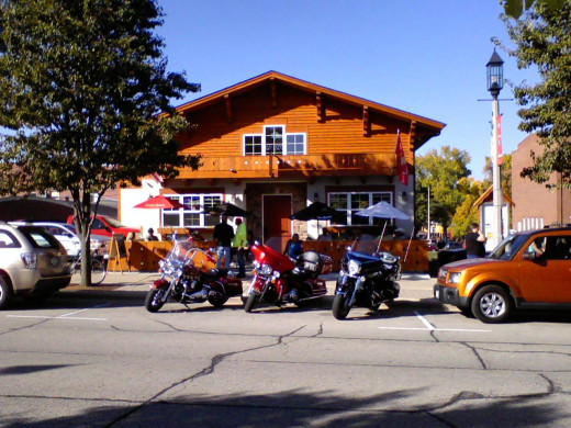 Kleemen's  Bar & Grill, rebuilt last year after a fire with a great outdoor patio and in the familiar Swiss Chalet style