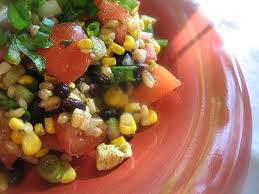 This is a really tasty rice salad that can be made from using left over brown rice.