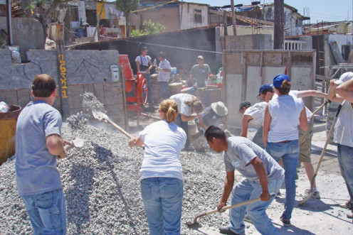 Any kind of team project presents an opportunity to be in the flow. Here it was pouring concrete for houses in Tijuana (Esperanza International).