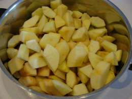 Peel and chop the apples into chunks.