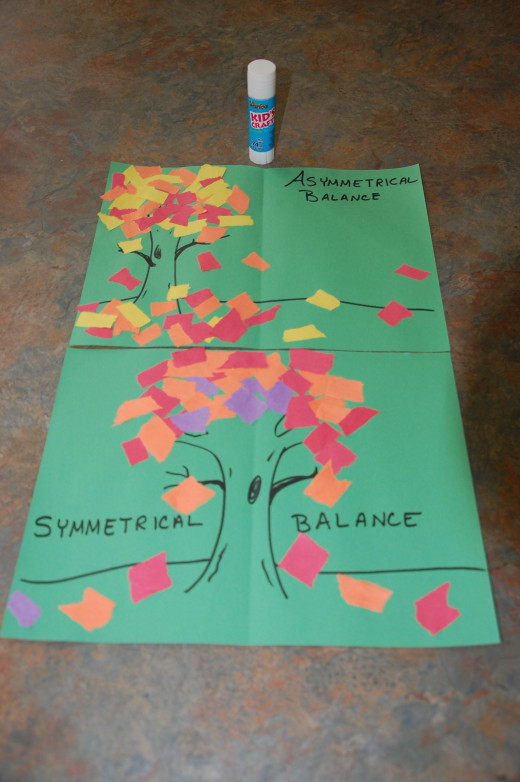 comparing asymmetrical vs. symmetrical balance in the tree collages