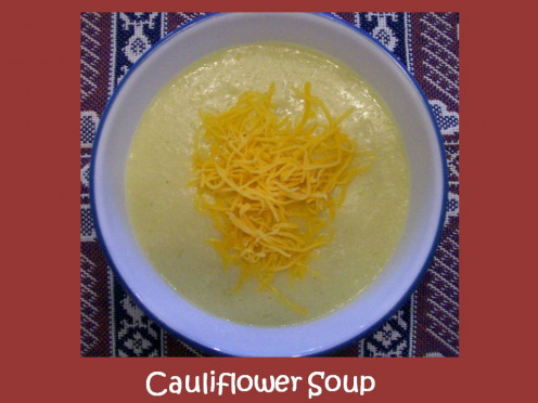 Cauliflower Soup topped with shredded cheddar cheese.  Source:  Sharyn's Slant