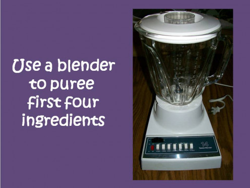 Remove soup pot from heat and puree ingredients in a blender, then return to soup pot.  Source:  Sharyn's Slant