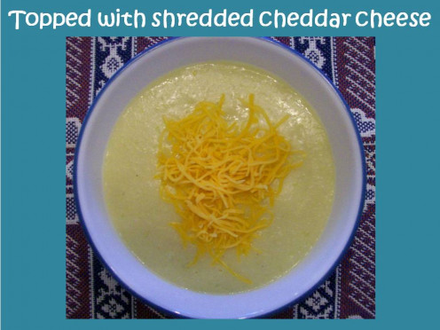 Top Cauliflower Soup with cheddar cheese if desired and enjoy!  Source:  Sharyn's Slant