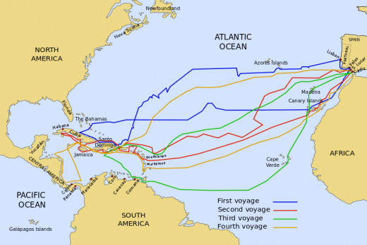 The routes of the four voyages of Columbus