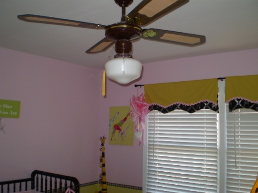 Ella's ugly but entertaining ceiling fan.