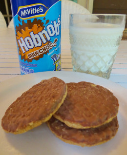 Hobnob is a biscuit made from rolled oats and jumbo oats, the recipe originated in Scotland.