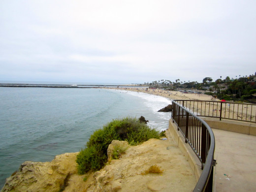 View of Corona Del Mar Beach from Inspiration Point.