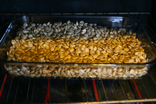 Roast the seeds in an oven set to 300 degrees Fahrenheit for approximately 30-40 minutes.