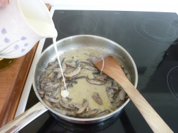 Remove pan from heat and stir in enough double cream to make a sauce ...