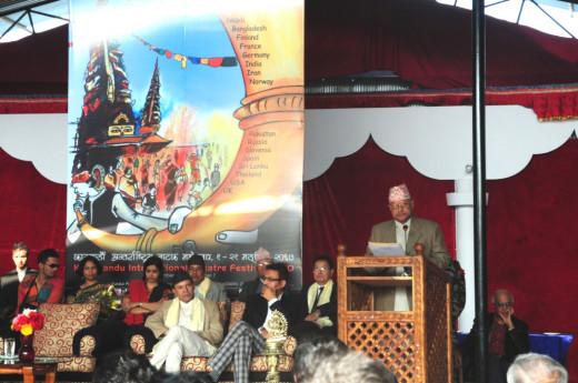 President ram Baran Yadav inaugurating Kathmandu International Theater festival 2010