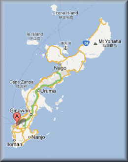 Approximate location of JOFF, north of the capital city of Naha