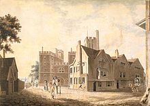 More early work, watercolour drawing of Lambeth Palace - across the river from Westminster