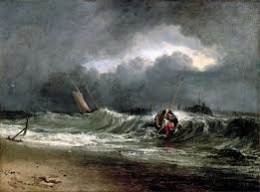 Fishermen on a lee shore in squally weather
