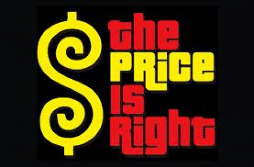 The Price is Right is a t.v. game show that has been on the air since the late 1950's. The contestants must guess the price of household products.