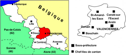 Valenciennes 'arrondissement' map.