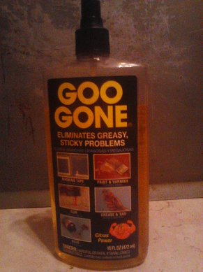 """To get rid of that grease strip between the wall and the stove I relied on the product """"Goo Gone""""."""