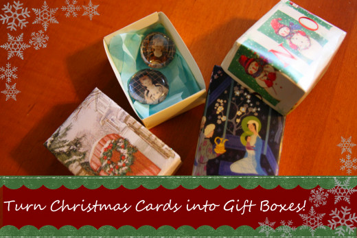 Recycle old holiday cards into gift boxes - only a few folds and some tape are required!